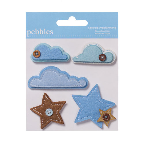 American Crafts - Pebbles - New Addition Boy Collection - Layered Felt Embellishments