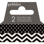 Pebbles - Basics Collection - Washi Tape - Dot and Chevron - Black