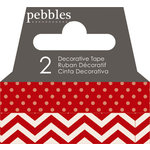Pebbles - Basics Collection - Washi Tape - Dot and Chevron - Rouge