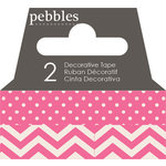Pebbles - Basics Collection - Washi Tape - Dot and Chevron - Begonia