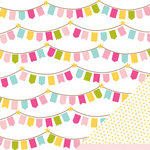American Crafts - Pebbles - Ever After Collection - 12 x 12 Double Sided Paper with Glitter Accents - Royal Banner