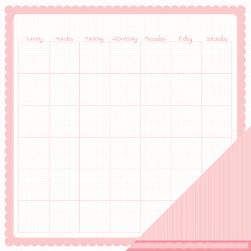 American Crafts - Pebbles - New Addition Girl Collection - 12 x 12 Double Sided Paper - Calendar