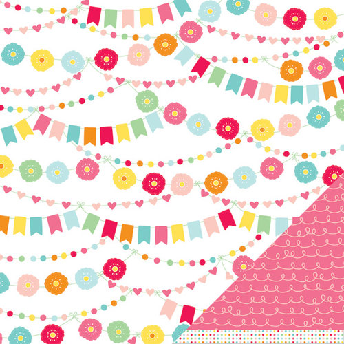 American Crafts - Pebbles - Hip Hip Hooray Collection - 12 x 12 Double Sided Glitter Paper - Let's Party