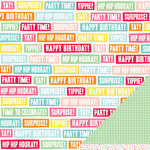 American Crafts - Pebbles - Hip Hip Hooray Collection - 12 x 12 Double Sided Glitter Paper - Surprise