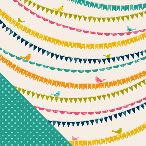 American Crafts - Pebbles - Sunnyside Collection - 12 x 12 Double Sided Paper - Sunny Days