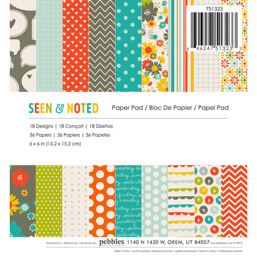 American Crafts - Pebbles - Seen and Noted Collection - 6 x 6 Paper Pad