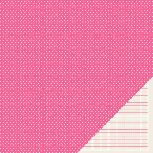 American Crafts - Pebbles - Basics Collection - 12 x 12 Double Sided Paper - Begonia Mini Dot