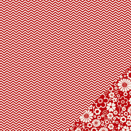 Pebbles - Basics Collection - 12 x 12 Double Sided Paper - Rouge Chevron