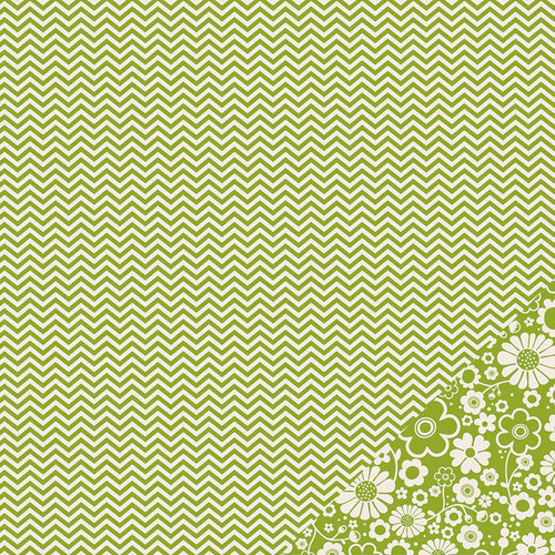 American Crafts - Pebbles - Basics Collection - 12 x 12 Double Sided Paper - Leaf Chevron