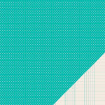 American Crafts - Pebbles - Basics Collection - 12 x 12 Double Sided Paper - Aqua Mini Dot