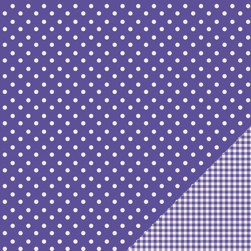 American Crafts - Pebbles - Basics Collection - 12 x 12 Double Sided Paper - Purple Dot