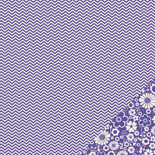 Pebbles - Basics Collection - 12 x 12 Double Sided Paper - Purple Chevron