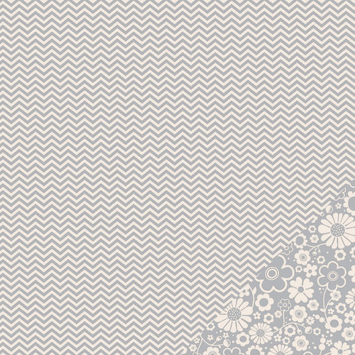 American Crafts - Pebbles - Basics Collection - 12 x 12 Double Sided Paper - Ash Chevron
