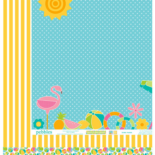 American Crafts - Pebbles - Party with Amy Locurto - 12 x 12 Double Sided Paper - Poolside