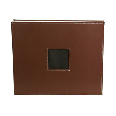 American Crafts - Leather Album - 12x12 - D-Ring - Brown