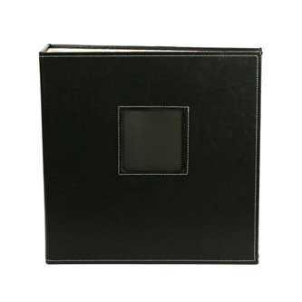 American Crafts - Leather Album - 8.5x11 - D-Ring - Black