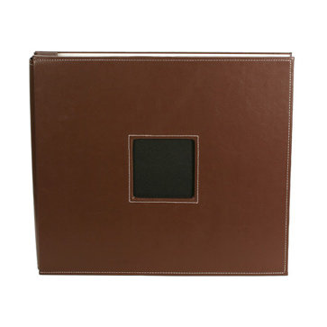 American Crafts - Leather Album - 12x12 - Post Bound - Brown