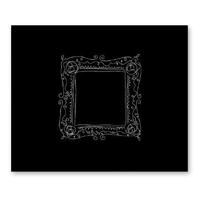 American Crafts - Patterned Cloth Album - 12 x 12 D-Ring - Black with Embroidered Frame