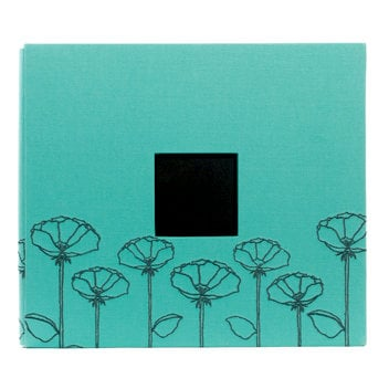American Crafts - Embroidered Album - 12 x 12 - Post Bound - Light Green with Poppys