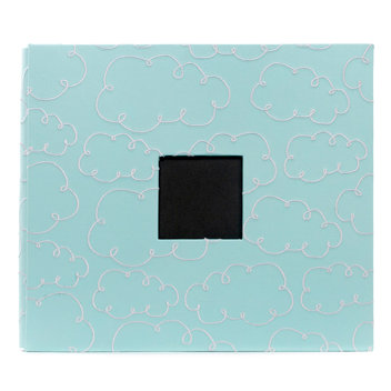 American Crafts - Embroidered Album - 12 x 12 - Post Bound - Blue with Clouds