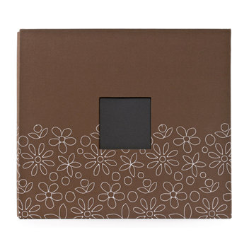 American Crafts - Embroidered Album - 12 x 12 - Post Bound - Brown with Flowers