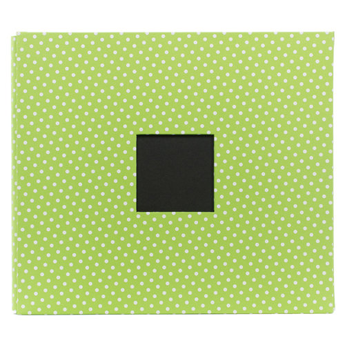 American Crafts - Screenprinted Album - 12 x 12 - Post Bound - Green Polka Dot