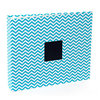 American Crafts - Patterned Cloth Album - 12 x 12 D-Ring - Teal Chevron