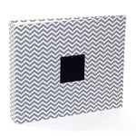 American Crafts - Patterned Cloth Album - 12 x 12 D-Ring - Gray Chevron