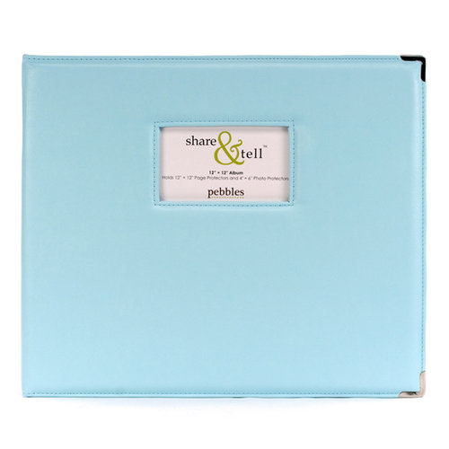 American Crafts - Pebbles - 12 x 12 Share and Tell Albums - Baby Blue