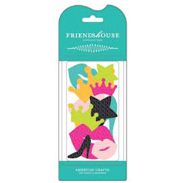 American Crafts - Teen Collection - Chipboard Pieces - Friends House - Glitter Teen, CLEARANCE