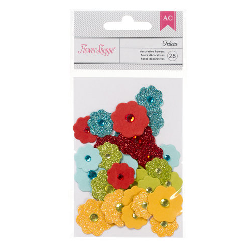 American Crafts - Flower Shoppe - Glitter Decorative Flowers - Felicia - Brights