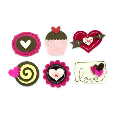 American Crafts - Details - Romance - Adhesive Layered Embellishments - Cupcakes