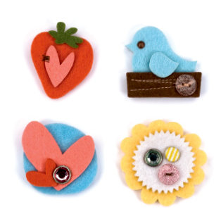 American Crafts - Dear Lizzy Spring Collection - Details - Felt Pieces - Chirp, CLEARANCE