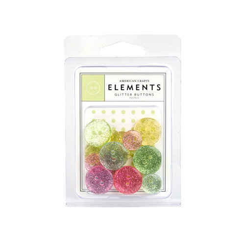 American Crafts - Glitter Buttons - Pastels, CLEARANCE
