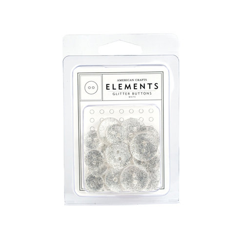 American Crafts - Glitter Buttons - White
