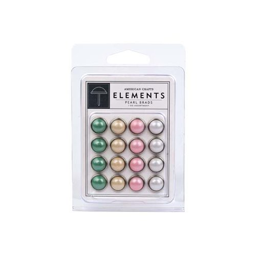 American Crafts - I Do Collection - Pearl Brads - Assorted - Large, CLEARANCE