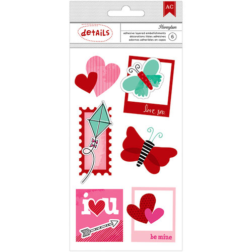 American Crafts Paper - XOXO Collection - Details - 3 Dimensional Stickers