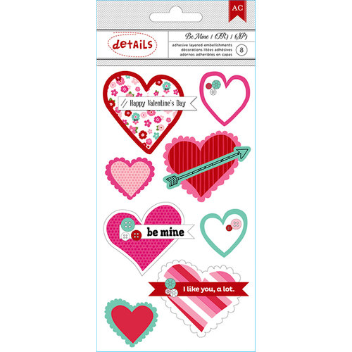 American Crafts Paper - XOXO Collection - Details - 3 Dimensional Stickers - Hearts