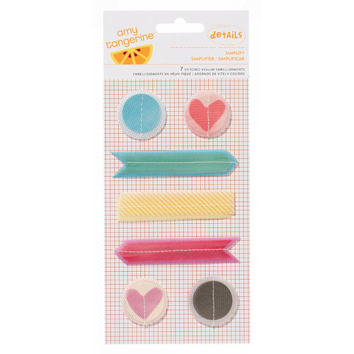 American Crafts - Amy Tangerine Collection - Yes, Please - Details - Stitched Vellum Shapes - Simplify