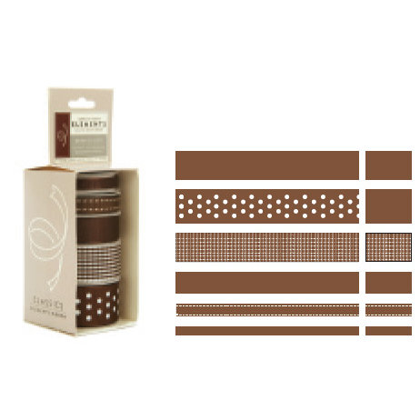 American Crafts - Elements - Multisized Premium Designer Ribbon - Brown Classics