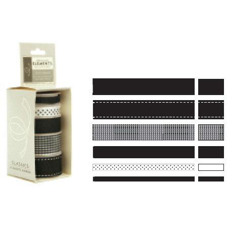 American Crafts - Elements - Multisized Premium Designer Ribbon - Black Classics, CLEARANCE