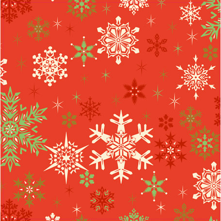 Anna Griffin - Twinkle Bright Collection - Christmas - 12 x 12 Paper - Red Snowflakes
