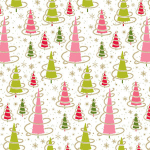 Anna Griffin - 12x12 Paper - Maime Collection - Christmas - Holiday - Swirl Trees