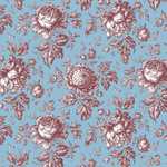 Anna Griffin - Flora Collection - 12 x 12 Paper - Flora Roses Blue, CLEARANCE