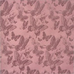 Anna Griffin - Flora Collection - 12 x 12 Flocked Paper - Flora Butterflies Purple
