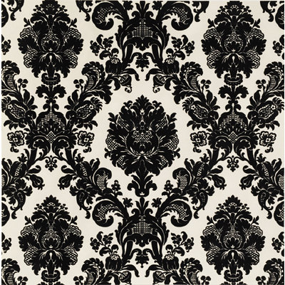 Anna Griffin - Esmerelda Collection - Halloween - 12 x 12 Flocked Paper - Black Flourish