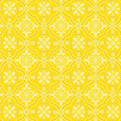 Anna Griffin - Carmen Collection - 12 x 12 Paper - Yellow Quatrefoil