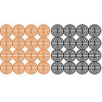 Anna Griffin - 12 x 12 Designer Die Cut Paper Pack - Circles - Black and Orange