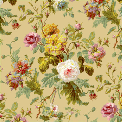 Anna Griffin - Francesca Collection - 12 x 12 Paper - Taupe Flowers