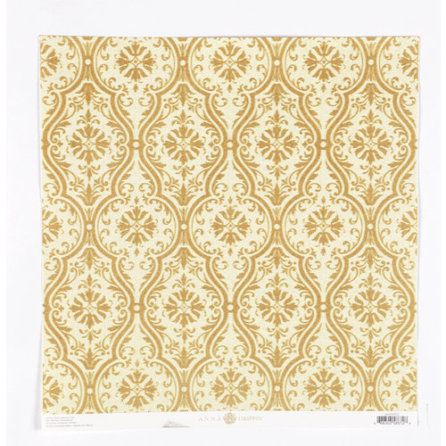 Anna Griffin - Fleur Rouge Collection - 12 x 12 Flocked Paper - Gold Damask